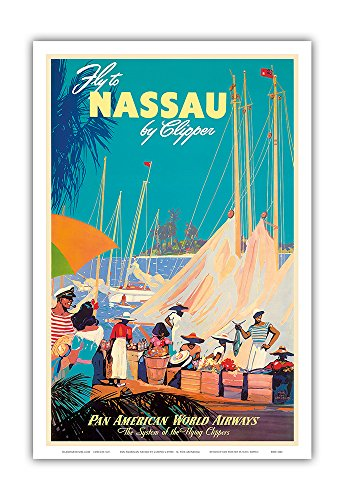 Fly to Nassau by Clipper - New Providence Island, The Bahamas - Pan American World Airways (PAA) - Vintage Airline Travel Poster by Mark Von Arenburg c.1950s - Master Art Print - 12in x 18in