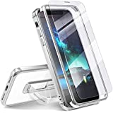 iPhone X Cases, Transparent Back Cover Silver Edge Finger Strap Kickstand Ring Stand Holder & 2pcs Tempered Glass Screen Protector 360 Bumper Drop Protection Phone Case Apple iPhone X
