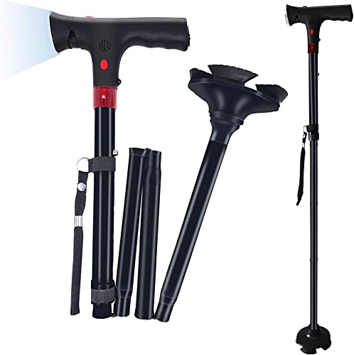 Lebote Folding Cane with LED Light and Alarm,Foldable Walking Cane for Men,Women,Adjustable Walking Stick with Carrying Bag for Fathers Mothers Gifts