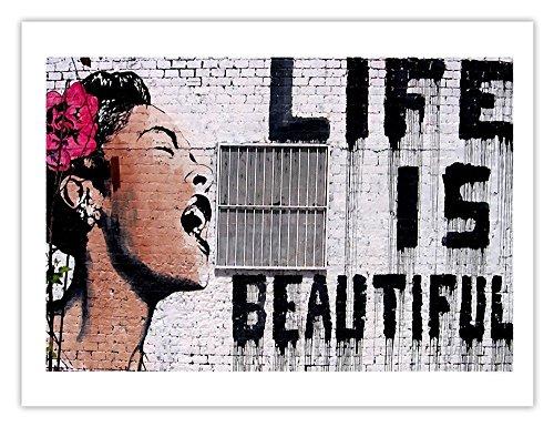 Life is Beautiful Billie Holiday Poster, Banksy Graffiti Art, 18x24 in., Gloss - Mr Poster Brainwash