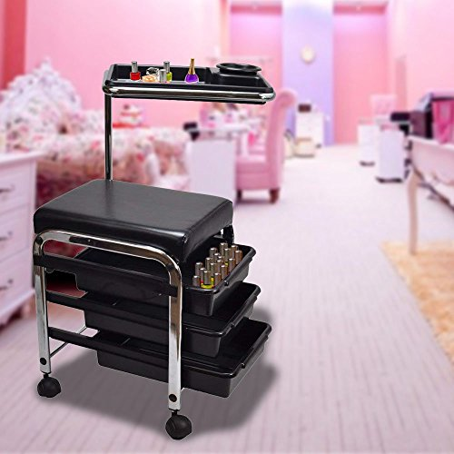 4 Casters Locking Commercial (Portable Pedicure Chair Black Pedicure Manicure Nail Cart Trolley Stool Chair Salon Spa with Shelves with Easy Pull Out Storage Drawers for Your Convenience Sturdy and Esthetic Design with 4 Casters)