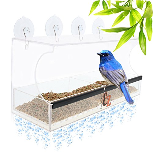 SUPERIOR Window Bird Feeder by Entirely Zen Includes Bonus Mirror Film, 5 Super Strong Suction Cups That Don't Fall; 100% Clear Outside Wild Bird Viewing, Cardinal, Bluebird, Large Bird (Outside Window)