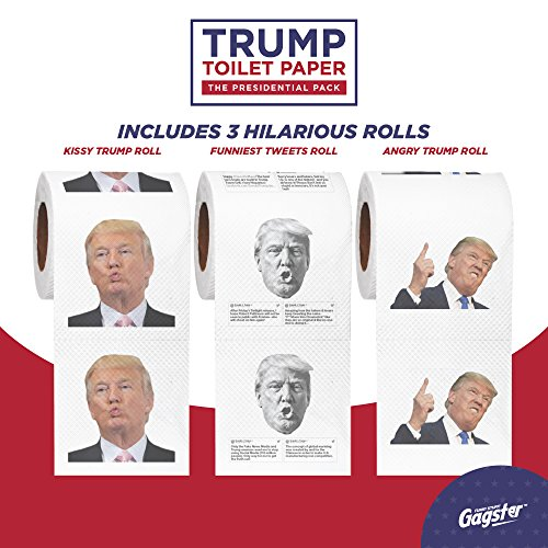 Donald Trump Toilet Paper – The Presidential Pack - 3 Rolls – Funny Political Humor Gag Gift - 2 Full Color Rolls + 1 Trump's Funniest Tweets Roll - Three Ply Bathroom Tissue 200 Sheets Per Roll by Gagster (Image #1)