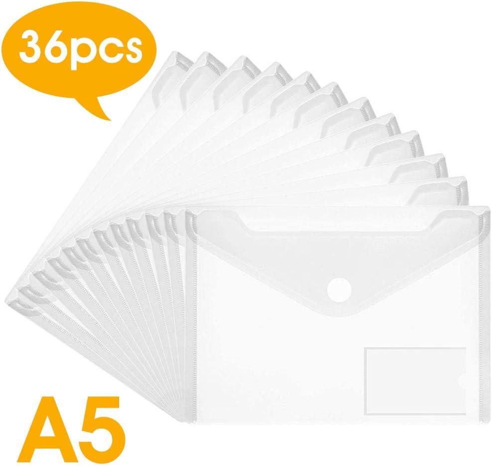 DECARETA - Carpetas de plástico para documentos (36unidades, cierre de botón, sobres de poliéster resistente al agua), transparentes