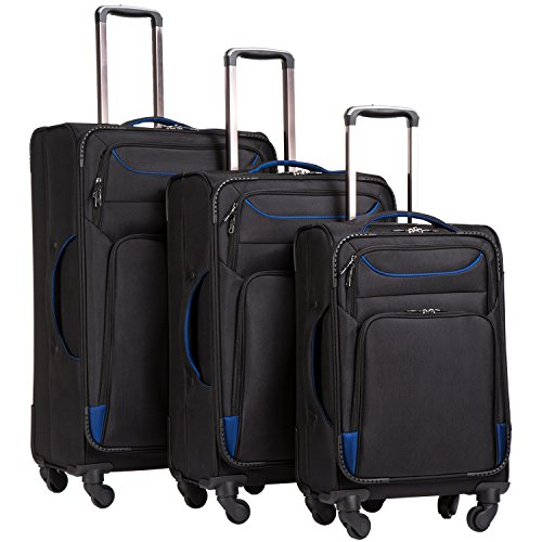 Coolife Luggage 3 Piece Set Suitcase Spinner Softshell lightweight (2 Piece Stackable Luggage Set)