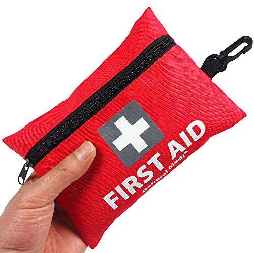 Mini First Aid Kit,92 Pieces Small First Aid Kit - Includes Emergency Foil Blanket,CPR Face Mask,Scissors for Travel, Home, Office, Vehicle,Camping, Workplace & Outdoor (Red)