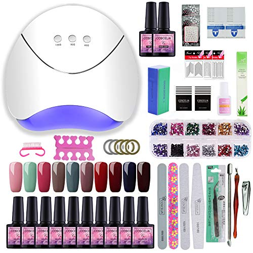 Fashion Zone Gel Nail Polish Starter Kit 36W UV/LED Lamp Base and Top Coat Manicure Tools 10 Color Gel Polish(8ml)