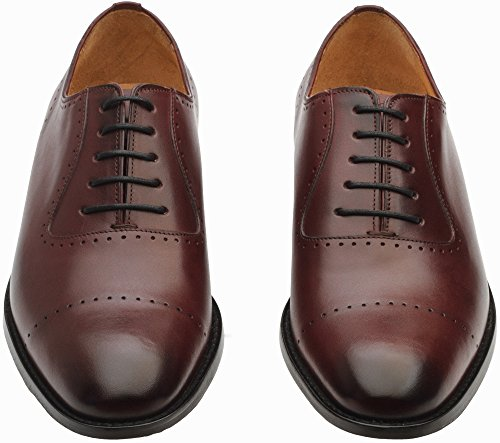 Handcrafted Leather Lifestyle Shoes 3DM Semi Leather Burgundy Brogue Oxfords Genuine Mens U5qOdxTwI