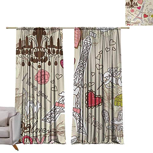 Thermal Insulated Drapes Paris,Doodles Illustration of Eiffel Tower Hearts Chandelier Flower Love Valentines Vintage,Beige Pink, W96 x L108 Art Grommet Curtains for Girls Room