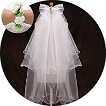 Flower Girl Veil, Children's Wedding Veil First Communion Veils with A White Garland