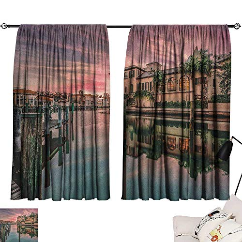 Josepsh Cityscape livingroom Darkening Curtains Colorful Sunrise Over Venetian Bay Naples Florida Apartments Trees Waterscape Curtain Darkening Blackout Purple Green W72 x L72
