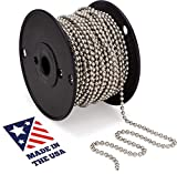 #10 Beaded Ball Chain - Nickel Plated Steel 100 Feet Spool for Vertical Window Blinds |Plumbing and Industrial Equipment Labeling | Commercial Retaining Applications
