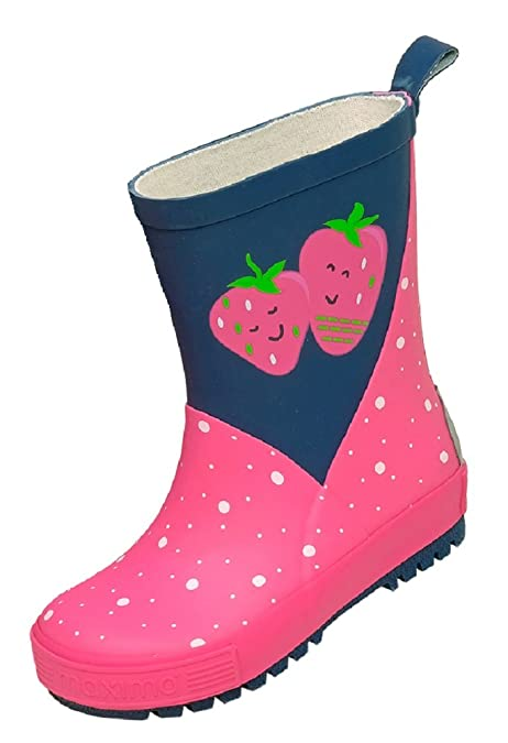 free shipping 216fc a25be maximo Kinder Gummistiefel Punkte-Erdbeere Schwarz/Pink ...