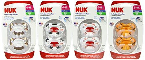 NUK Assorted Sport Pacifier, 6-18 mois (couleurs et motifs peuvent varier), 8 Count