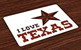 Ambesonne Texas Star Place Mats Set of 4, Western Culture Motifs with a Quote About Southwest of United States, Washable Fabric Placemats for Dining Room Kitchen Table Decor, Dark Brown and Brown