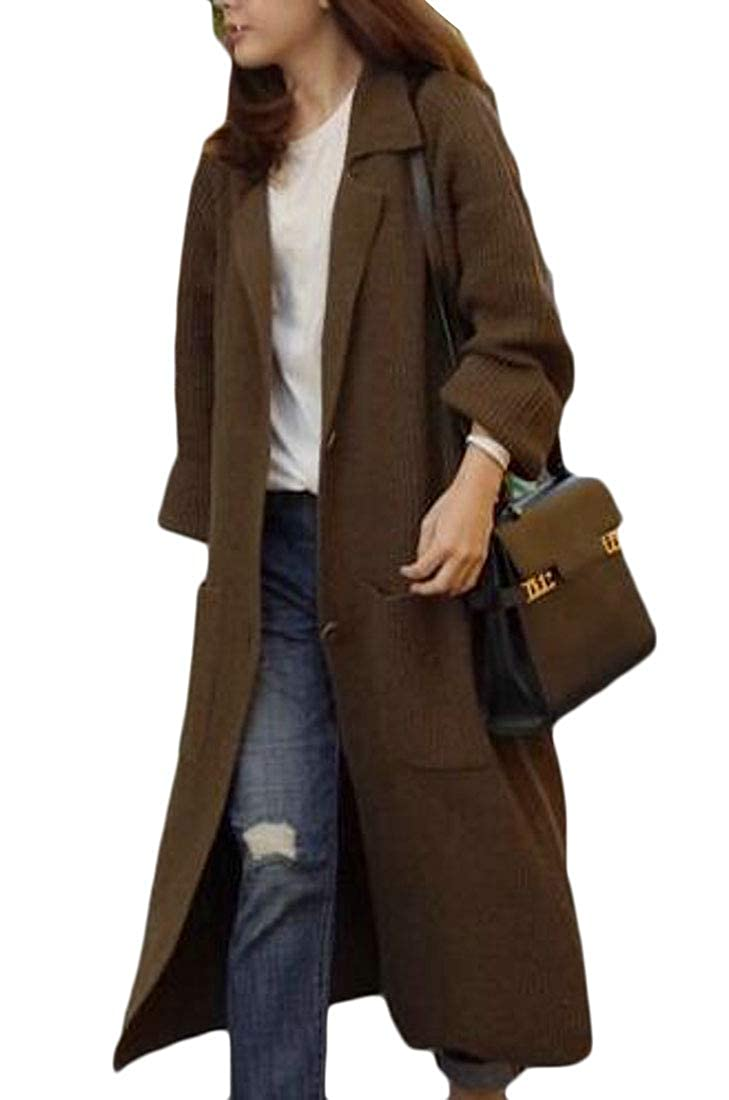 Pluszing Women Winte Knitr Trench Coat Fashion Thick Outerwear Long Cardigans