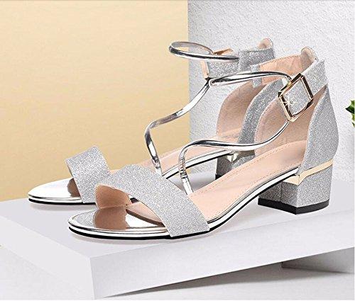 AJUNR bende alti tavole scarpe Donna tacchi Alla toe Da 4cm silvery Scarpe fibbie Sandali sottili Open tacchi Moda impermeabile rfqgr