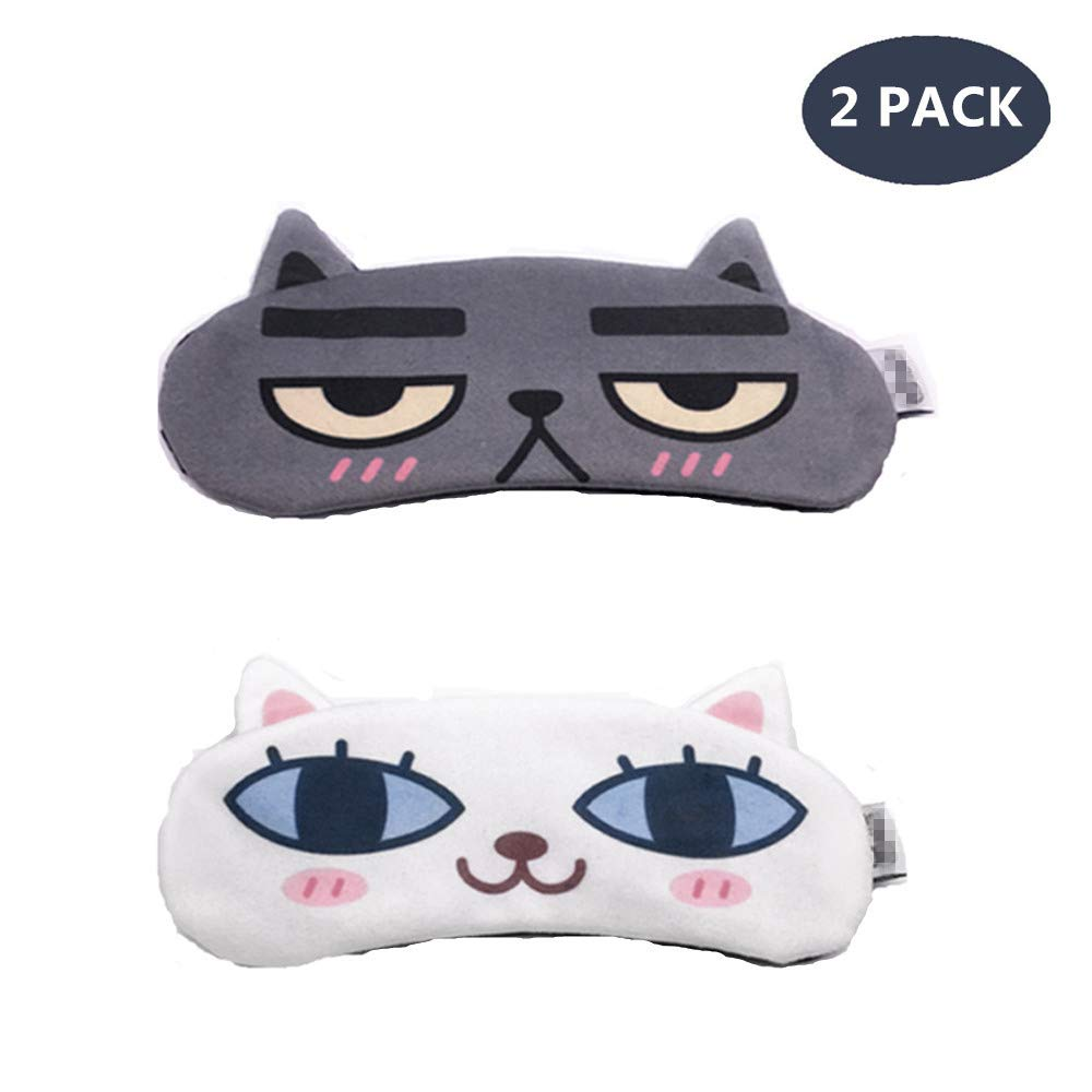 [2 PACK] MicroBird Cat&Dog Cute Sleep Eye Mask with gel pad, Hot & Cold Therapy for Insomnia Puffy Eyes, Super Soft and Light, for Sleeping, Shift Work,Blindfold Eyeshade for Men and Women kid