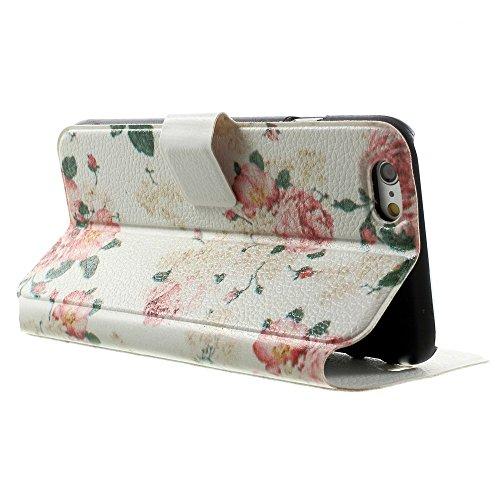LD Case A000823 Etui folio pour iPhone 6 Motif Fleurs Rose fond Blanc