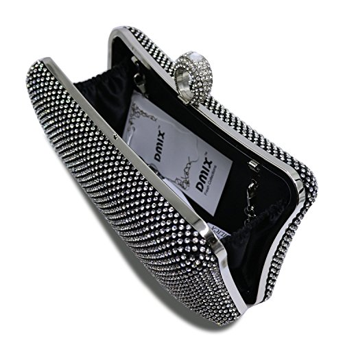 Clutch Ring Black Crystal b Women Prom with DMIX Evening Evening Party Diamante Bag Wedding for x4SnUw