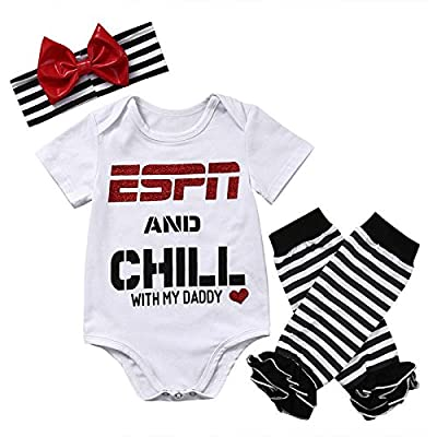 Baby Girls ESPN and Chill with My Daddy Bodysuit and Socks Outfit with Headband by ABEE that we recomend personally.