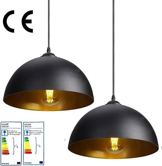 CCLIFE 2 Unidades Vintage Lámpara de techo Lámpara colgante ...