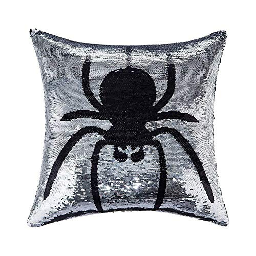 Promstar Sequin Pillow Case Reversible Color Changing Halloween Decorative Spider Pillow Cases 16
