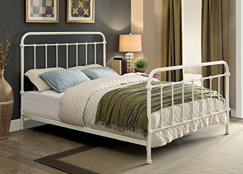 (Furniture of America Overtown Metal Bed, Queen, Vintage White)