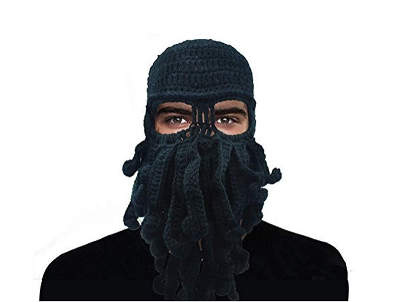 Giancomics Funny Tentacle Octopus Beanie Crochet Knit Beard Hat