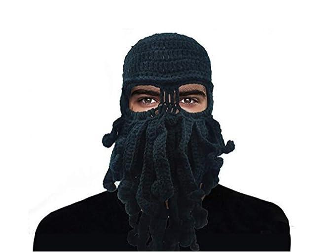 b1f5e5366 GIANCOMICS Funny Tentacle Octopus Beanie Crochet Knit Beard Hat Wind Ski  Mask