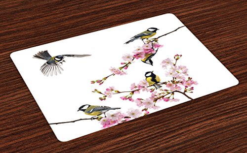 Ambesonne Birds Place Mats Set of 4, Group of Cute Hummingbirds on Flowering Branch Best Friends Peace Illustration Home, Washable Fabric Placemats for Dining Room Kitchen Table Decor, Multicolor
