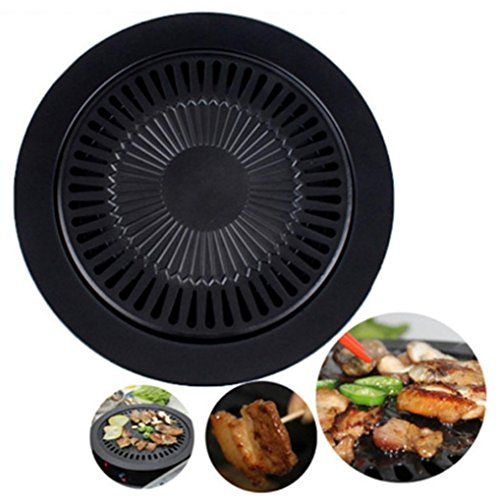 Round BBQ Grilling Tray, Staron Round Iron Korean BBQ Grill Plate Barbecue Non-stick Pan Barbecue Rack (Black)