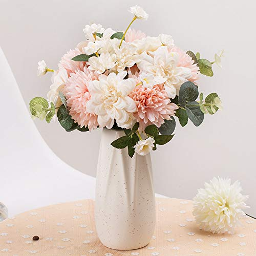 - FENGRUIL Artificial Flowers, 8.5'' Tall Silk Daisy and Hydrangea Flowers Bouquet for Home Office Party Wedding Decoration(White+Pink)
