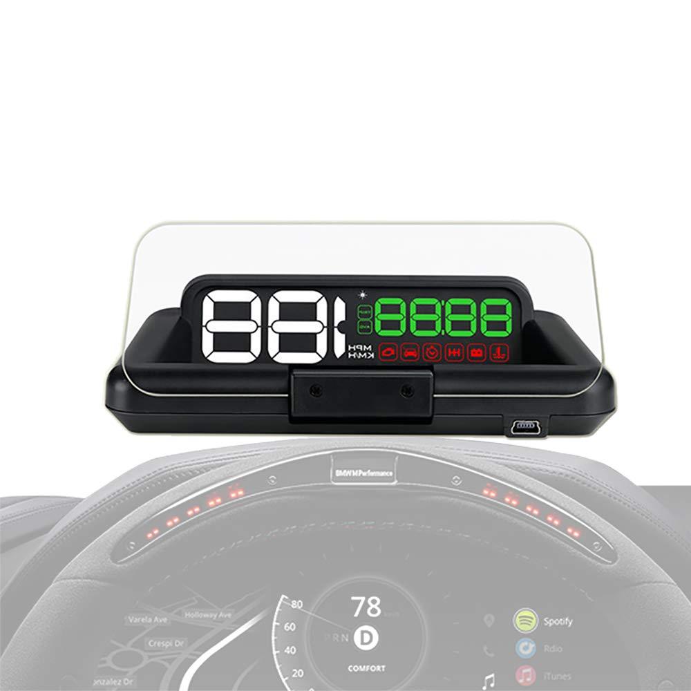 ヘッドアップディスプレイ、オリジナルデジタルユニバーサル車HUD GPSスピードメーター鉛道車両全車用オーバースピードアラームウインドシールドプロジェクト   B07QYN9LB8