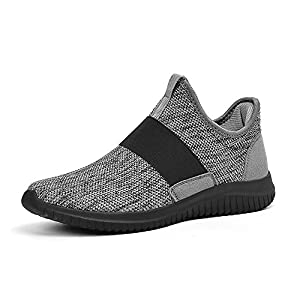 Feetmat Mens Running Shoes Mesh Breathable Athletics Sports Gym Walking Training Shoes Grey US Size 9.5