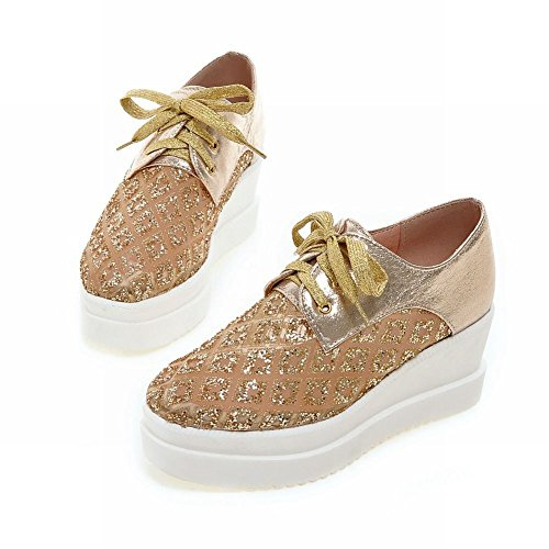 Latasa Fashion Womens Platform Gold Wedge Lace Shoes up Oxford r7rxHwq15v