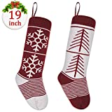 LimBrige 2 Pack 19'' Large Luxury Knit Knitted Christmas Stockings, Xmas Tree / Snowflake Rustic Personalized Stocking Decorations for Family Holiday Season Decor, Style B