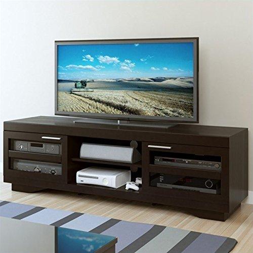 Doors Wood Veneer (Sonax B-007-RGT Granville 66-Inch Wood Veneer TV Bench, Mocha black)