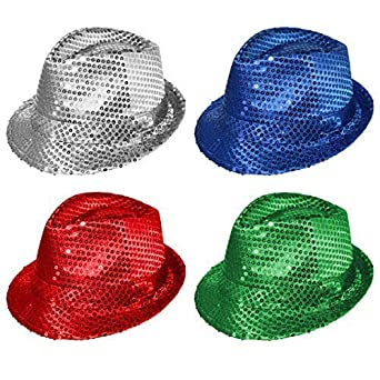 cdf46c2eb5e Adult   Kids Colourful Sequin Fedora s Value   Party Pack (4 Hats ...