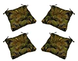 Set of 4 - Indoor / Outdoor Black Green Tan Tropical Palm Leaf Universal Tufted Seat Cushions w/ Ties for Dining Patio Chairs - Choose Size (20