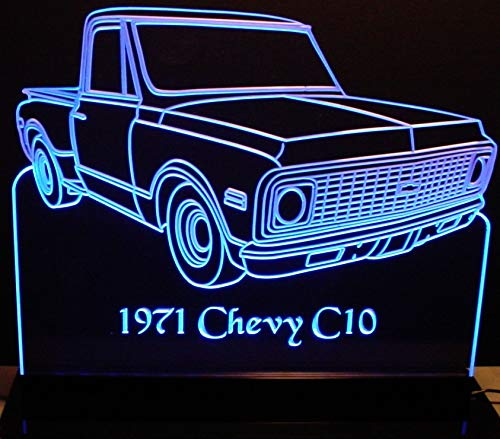(ValleyDesignsND 1971 Chevy Pickup Truck C10 Short Box Stepside Acrylic Lighted Edge Lit 12