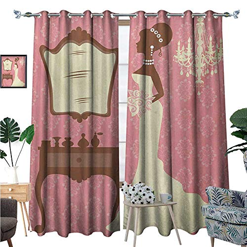 BlountDecor Bridal Shower Window Curtain Fabric Wedding Dress with Flowers and Vanity Swirl Backdrop Celebration Drapes for Living Room W96 x L108 Coral Brown and White (Dora The Explorer Vanity)