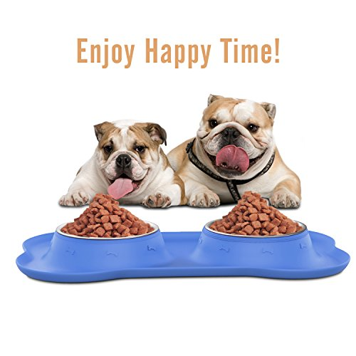 Pawaboo Pet Dog Cat Bowls, Premium Stainless Steel Pet Feeder with Food Grade Bone Shaped Rubber Base, 4.33 Inch Diameter Bowls for Pet Dog Cat Food or Water, Set of 2, Small Size, BLUE by PAWABOO (Image #5)