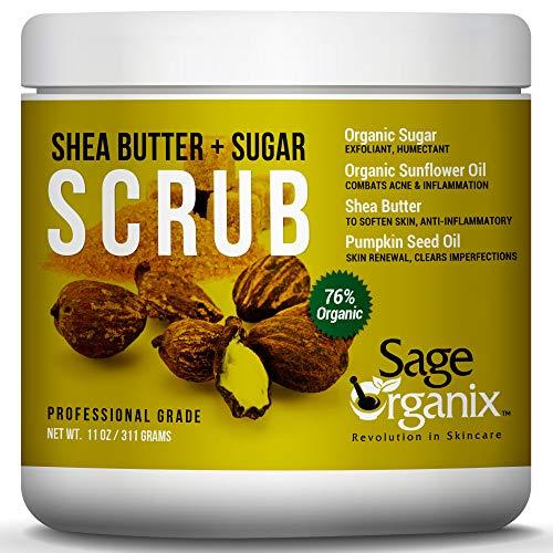 Sage Organix Spa Quality Face Body Exfoliating Scrub, 76% Organic 100% Natural Shea Butter Sugar Scrub to Cleanse…