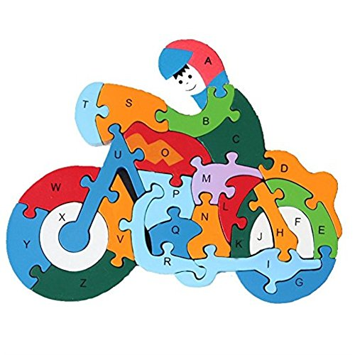 Kangkang @ 1 PCS kindergarten, alphanumeric cognitive motorcycle puzzles wooden blocks, puzzles toys children 26 English letters digital wooden puzzle children toy motorcycle
