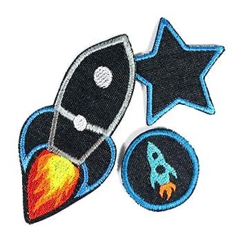 3 parches de planchado con diseño de cohetes y estrellas ...