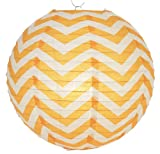Quasimoon PaperLanternStore.com Orange Chevron Paper Lantern, Hanging Decoration