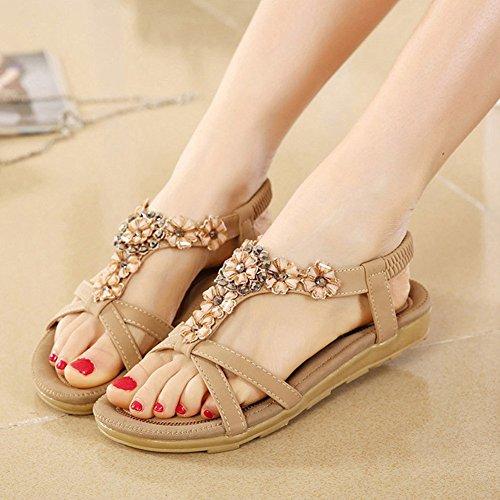 Zicac Damen Sandalen Freizeit Blumen-Stil Sandalen Sommer Schuhe Aprikose