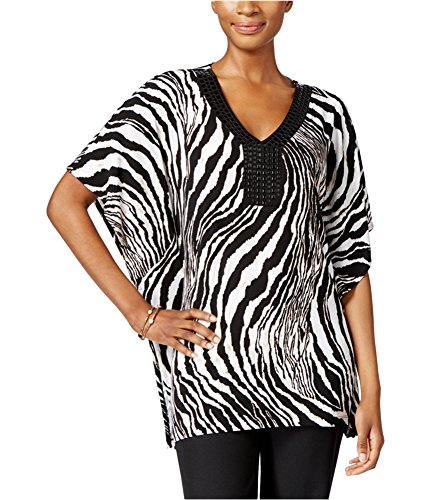 JM Collection Womens Zebra Beaded Tunic Blouse spiritanimal L Beaded Print Tunic