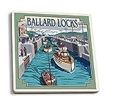 Lantern Press Seattle, Washington - Ballard Locks (Set of 4 Ceramic Coasters - Cork-Backed, Absorbent)